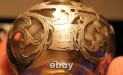 1886-1893 Victorian Alvin Glass & 1000 Fine Silver Overlay Perfume Bottle 4.5
