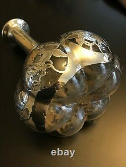 1887 Alvin Grape Vine Pattern. 999 Silver Overlay Decanter Ca 1900s No. D553