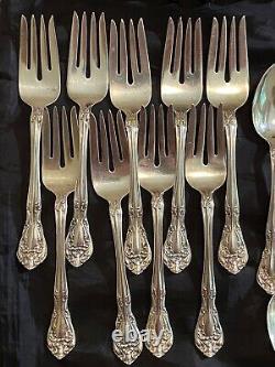 8-pl, 64-pc Alvin Chateau Rose Sterling Flatware Set, Vintage, No Mono