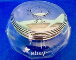 ALVIN Antique American Art Nouveau Sterling Silver Lid Large Crystal Powder Jar