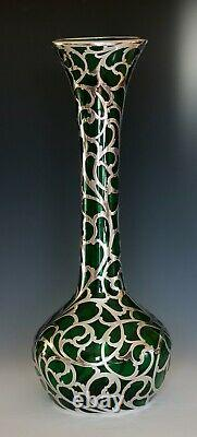 ALVIN Co. STERLING SILVER OVERLAY 14 vase excellent condition ca. 1898 1911