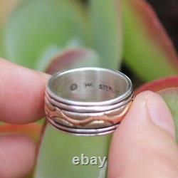 ALVIN MONTE Navajo ring 14k gold sterling silver tribal Native American sz 8 1/4