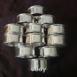 ALVIN Sterling Silver Set 6 Round NAPKIN RING R Monogram 2 Sets available