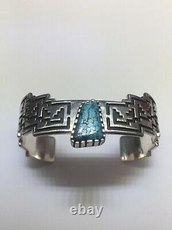 ALVIN TSO Navajo Sterling Silver Navajo Number 8 Turquoise Cuff Bracelet 6 3/8