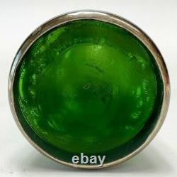 Alvin 999 Sterling Silver Green Glass 6.3 Tall Vase
