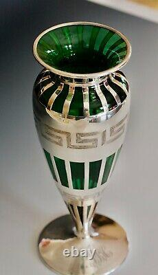 Alvin Co. Sterling Silver Overlay 10 tall Art Deco vase SUPERB condition