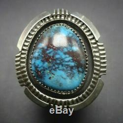 Alvin Joe NAVAJO Sterling Silver HUGE BISBEE TURQUOISE RING size 12.5 Wide Band