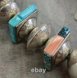 Alvin Lula Begay Native American Navajo Coral Turquoise Necklace Sterling Silver