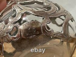 Alvin Mfg. Co Sterling Silver Overlay Perfume Scent Bottle with Floral Decoration