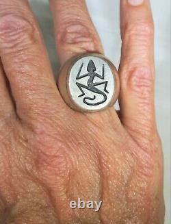 Alvin Taylor Hopi Lizard Sterling Silver 925 Signet Overlay Ring