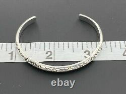 Alvin Toadacheene Navajo 925 Sterling Silver Etched Southwest Cuff Bracelet 5.75