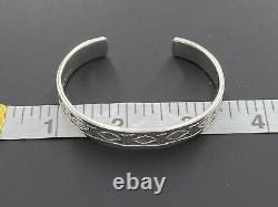 Alvin Toadacheene Navajo 925 Sterling Silver Etched Southwest Cuff Bracelet 6.5