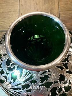 Alvin VASE Antique Art Nouveau American Green & Silver Overlay G3330 STERLING