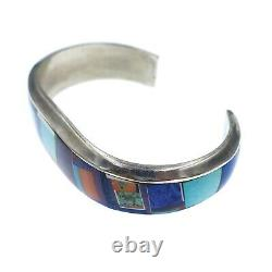 Alvin YellowHorse Native American Sterling Silver Inlayed Bangle Bracelet 6.75