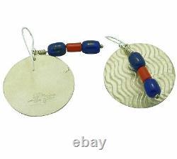 Alvin Yellowhorse, Earrings, Lapis Lazuli, Coral, Navajo Handmade, 2 x 1 1/4