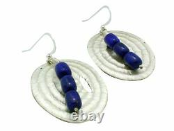 Alvin Yellowhorse, Earrings, Lapis Lazuli, French Hook, Navajo Handmade, 2