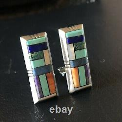 Alvin Yellowhorse NAVAJO Heavy Gauge Sterling Silver CHANNEL INLAY Clip EARRINGS
