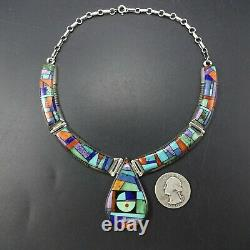 Alvin Yellowhorse NAVAJO Heavy Gauge Sterling Silver CHANNEL INLAY NECKLACE