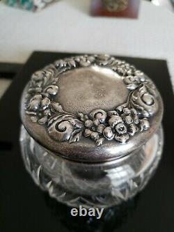 Antique ALVIN Cut Crystal Dresser Jar with Sterling Silver lid