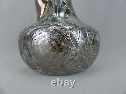 Antique Alvin Art Nouveau Sterling Silver Floral Overlay Decanter #3617 ca1900