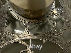 Antique Alvin Sterling Silver 999 Overlay Glass Decanter Pitcher Grape Vine Dec