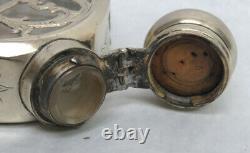 Antique Alvin Sterling Silver Overlay Crystal Flask #196