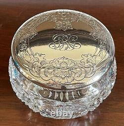 Antique American Brilliant Crystal bon bon candy jar Sterling Silver Alvin lid