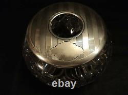 Antique Cut Glass Hair Receiver, Alvin Sterling Silver LID