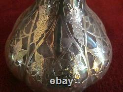 Antique Gorham Alvin Art Nouveau Sterling Silver Overlay Cast Glass Decanter