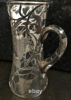 Antique S Silver 999 Overlay Glass Pitcher Grapevine 9.5 T Some Damage Alvin