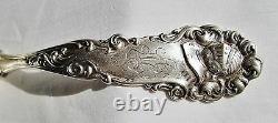 Antique Sterling Silver Gravy Ladle Edward VII Knight Armor Heraldry Art Nouveau