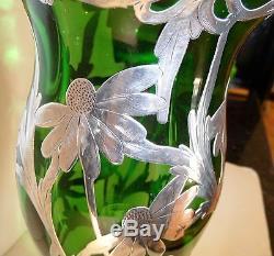Antique Sterling silver overlay Very tall Vase, Alvin, Gorham