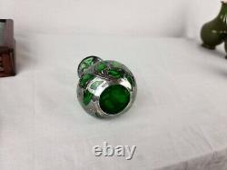 Art Nouveau Alvin Sterling Silver Overlay Green Glass Vase Top Repaired