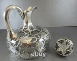 Awesome American Alvin Sterling Overlay Decanter! Grapes & Vines, 1900. Perfect