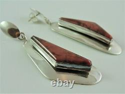 Big 2 5/8 Signed Navajo Alvin De Chelly Raspberry Rhodonite & Sterling Earrings