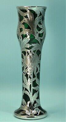 Black, Starr & Frost Alvin Green Glass & Sterling Silver Overlay Vase Circa 1900