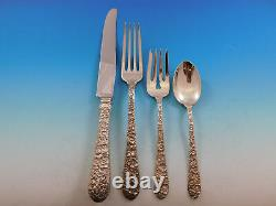 Bridal Bouquet by Alvin Sterling Silver Flatware Service 12 Set 86 pieces Dinner