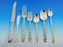 Bridal Bouquet by Alvin Sterling Silver Flatware Service 12 Set 92 pieces Dinner