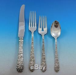 Bridal Bouquet by Alvin Sterling Silver Flatware Set 8 Service 32 pcs Repousse