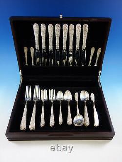 Bridal Bouquet by Alvin Sterling Silver Flatware Set for 8 Service 48 Pcs Dinner