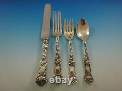 Bridal Rose by Alvin Sterling Silver Flatware Service For 12 Set 49 Pieces
