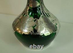 Fine Silver Overlay Green Glass Vase 12 Tall By Alvin Sterling Art Nouveau