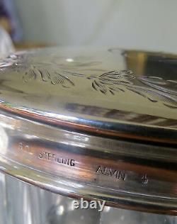 Gorgeous Vintage Cut Crystal Dresser Jar with Alvin Sterling Silver lid 4 5/8