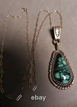 LGE VTG NAVAJO ALVIN YAZZIE TURQUOISE & STERLING PENDANT WithCHAIN, AY SIGNED