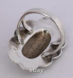 Large Native American Navajo sterling silver repousse ring by Rose & Alvin Boy