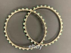Lot of 2 Sterling Silver Turquoise Bangles Signed AL (Alvin Lee)