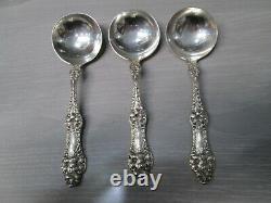 Lot of 3 Alvin ORANGE BLOSSOM Sterling Silver Cream Soup Spoons