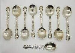 Lot of 9 Sterling French Scroll Pattern Round Soup Spoons By Alvin (1953)