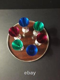 Mid Century ALVIN STERLING SILVER CORDIAL CUPS Enamel Lined, Tray & Original Box