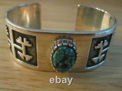 Navajo Alvin Tso Heavy Silver, #8 Turquoise Cuff Bracelet, 72.4g